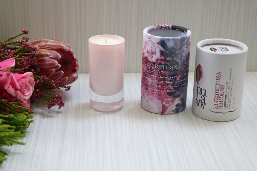 Nula Soy Aromatherapy Candle Elizabethan Gardens - Rose Crystal Glassware - Piccolo 40g
