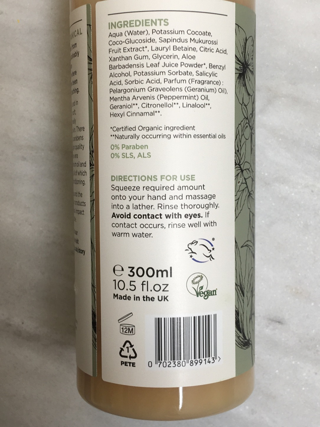Greenfrog botanic Geranium & peppermint body wash
