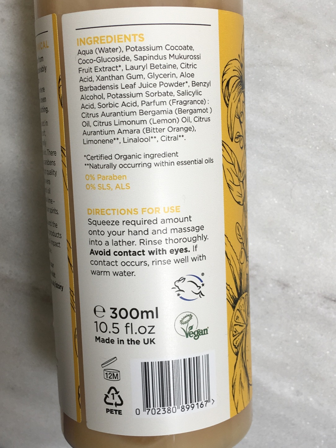 Greenfrog Botanic Neroli & Lime body wash