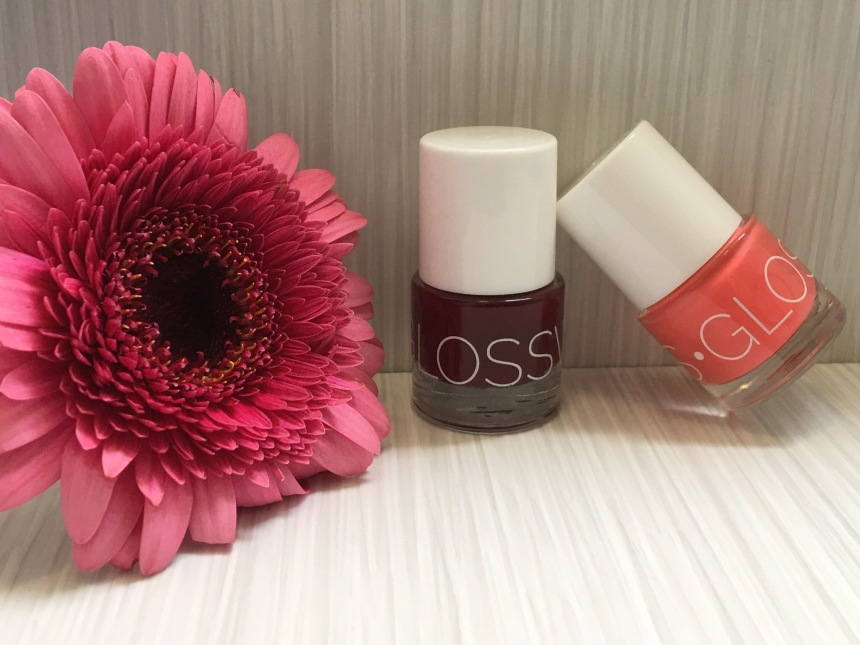 Glossworks nail polish flamingo and aubergine