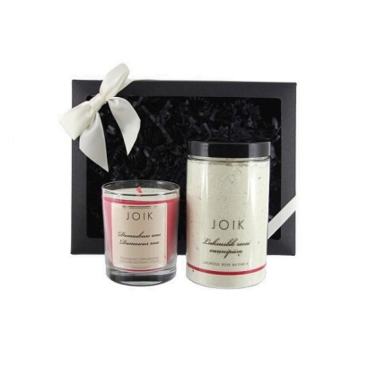 JOIK Luxurious Bath Time Gift Set - Damascus Rose candle (145g) and Rose bath milk (380g)