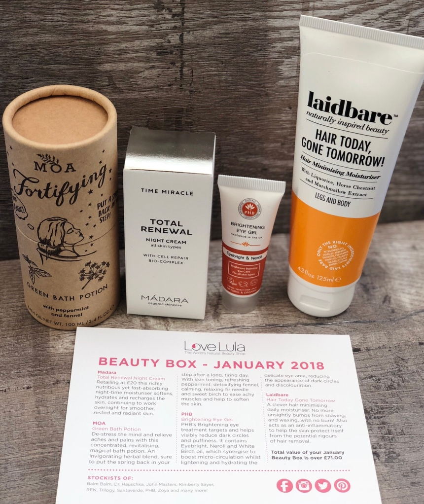 Lovelula beauty box January 2018