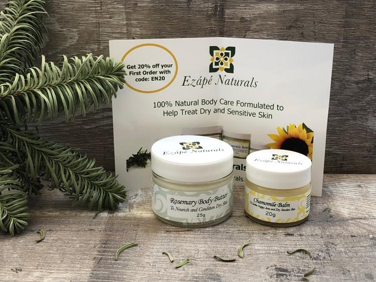 Ezape naturals rosemary body butter and chamomile balm
