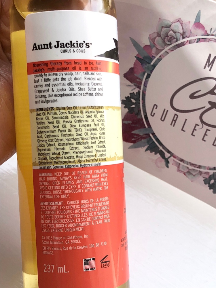 Aunt Jackie's Curls & Coils Flaxseed Recipes Soft All Over Multi-Purpose Oil