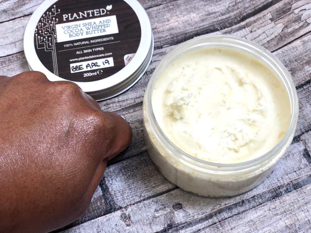 Planted skincare virgin shea and cocoa whipped body butter